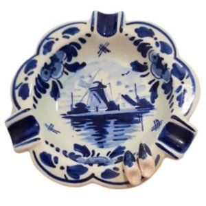 Vintage Delft Blue Holland Windmill Ashtray Clogs